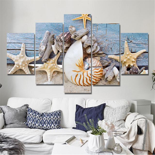 Drop Shipping Modern Blue Beach Seascapes Paintings Wall Art Home Decor  Shell Canvas Pictures For