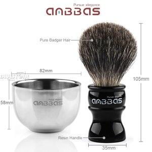 Image 3 - Anbbas Barber Rasierpinsel Dachs Haar, Schwarz Acryl Stand, Schüssel Set