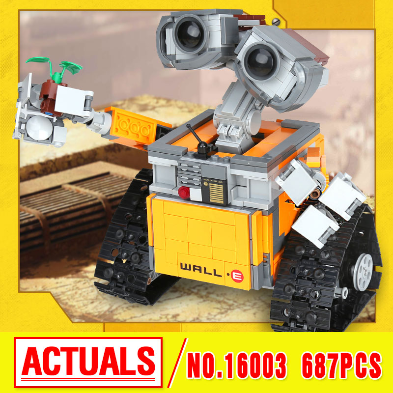 Lepin 16003 movie Wall-E Robot Building Assemble Blocks Bricks Educational Kid Toy Compatible as 21303 birthday christmas Gifts lepin 687pcs building blocks toy robot wall e diy assemble figure educational brick brinquedos for children compatible legoe