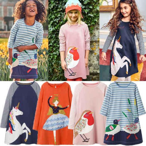 YENI Bebek Kız Elbise Hayvanlar ile Prenses Uzun Kollu Elbise Çocuk Sonbahar Giyim Çocuklar için