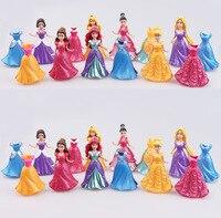 Disney Long Cinderella Snow White Dress Up Detachable dolls Princess 8cm Girl toys Kids ornaments gift 14PCS/ Set