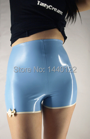 Buy Ladies' rubber blue briefs latex pants exotic clothing girls Customize service