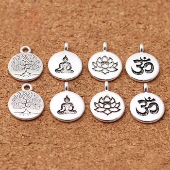 10 sztuk/partia tybetański srebrny okrągła etykieta Lotus/drzewo życia/budda Charms 15mm Handmade metalowe zawieszki DIY akcesoria do wyrobu biżuterii