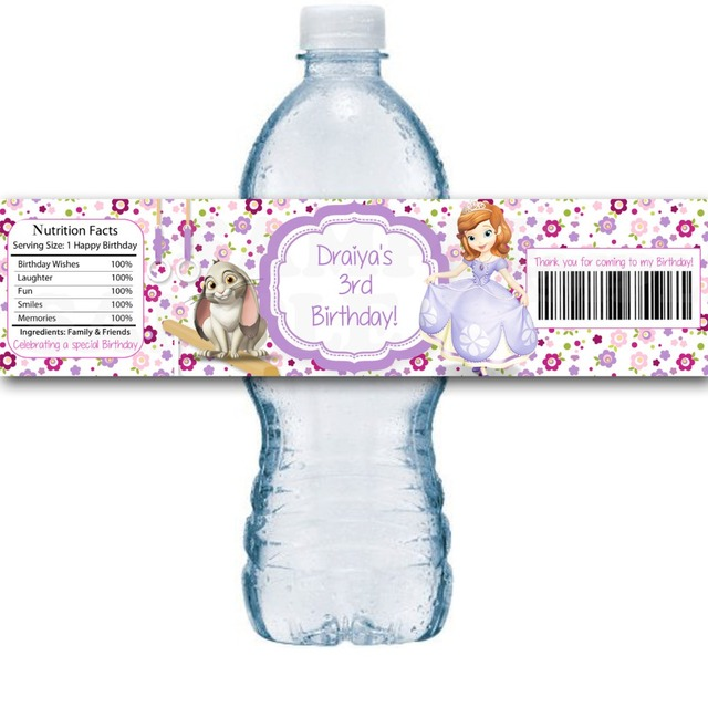Customized Sofia 4 Wrappers Personalized Water Bottle Labels Baby