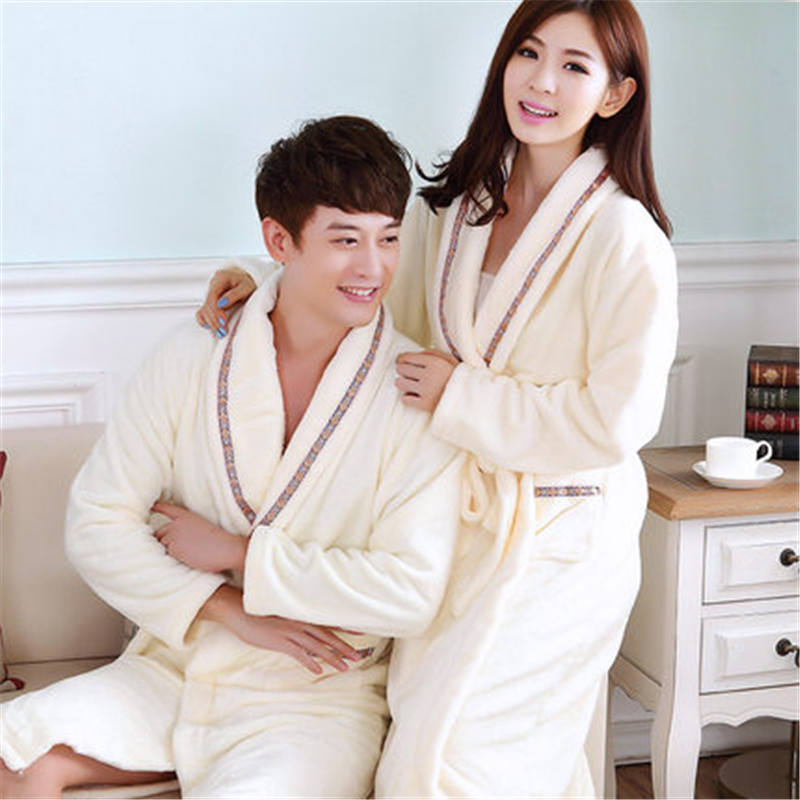 Spring Autumn Warm Coral Fleece Couple Robes Family Flannel Nightdress Women    Men Sleepwear Lady Leisure Bathrobe -in Robes from Underwear   Sleepwears  on ... 9b8937714