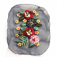 15CM Handmade 3D Flower Beaded Patch Sequins Patches Applique Vintage Embroidered Fabric For Dress T Shirt
