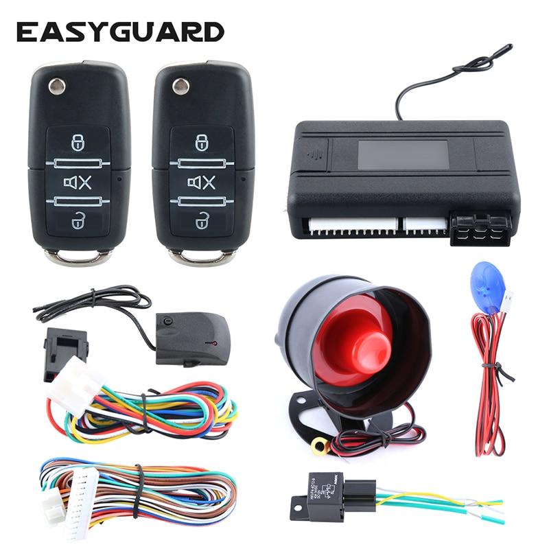EASYGUAR Good quality one way car alarm kit shock trigger alarm remote engine start stop central