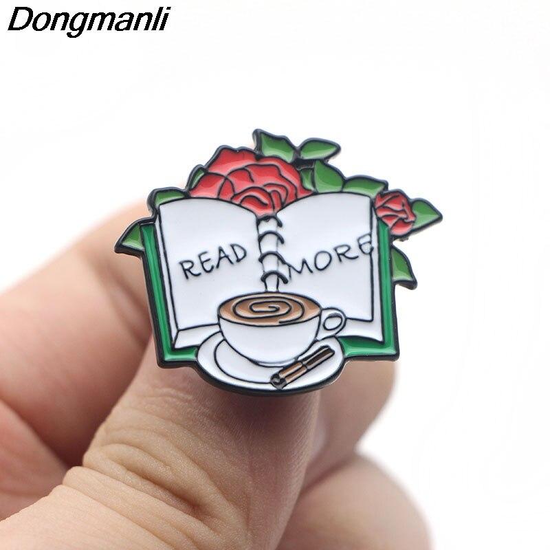Dongmanli Lire Plus Portable Pins Drôles Creative Métal Badges Icône sur Le Sac À Dos Broches Broche Badges pour Vêtements M2565