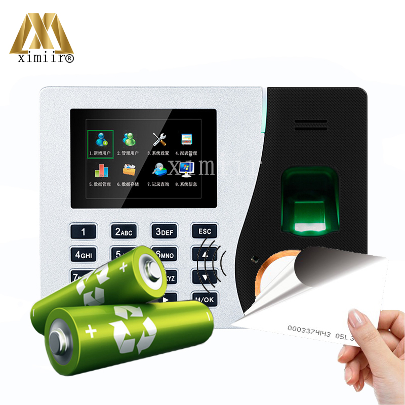 Linux System Biometric Fingerprint Time Attendance Recorder With 125Khz Card Reader With Built-in Battery