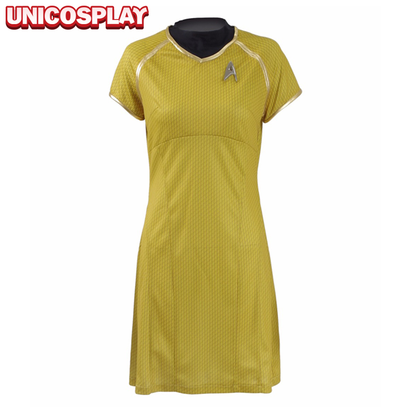 Star Trek  Into Darkness Women Dress Cosplay Costume Halloween Party Dress Yellow Duty Uniform with Badge
