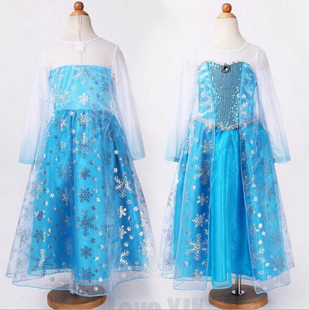 Venda quente Elsa Anna princesa crianças vestido de festa Vestidos crianças vestido de verão personalizado Cosplay Vestidos