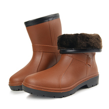 2017 men rubber winter fishing boots warm galoshes bot with plush color   rainboots garden asker boots short rain boots