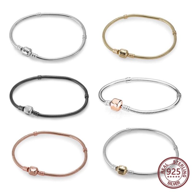 Silver Bracelet Classic Elegant 100 S925 Pure Silver Original Copy DIY Silver Clasp Bangle Jewelry Hand