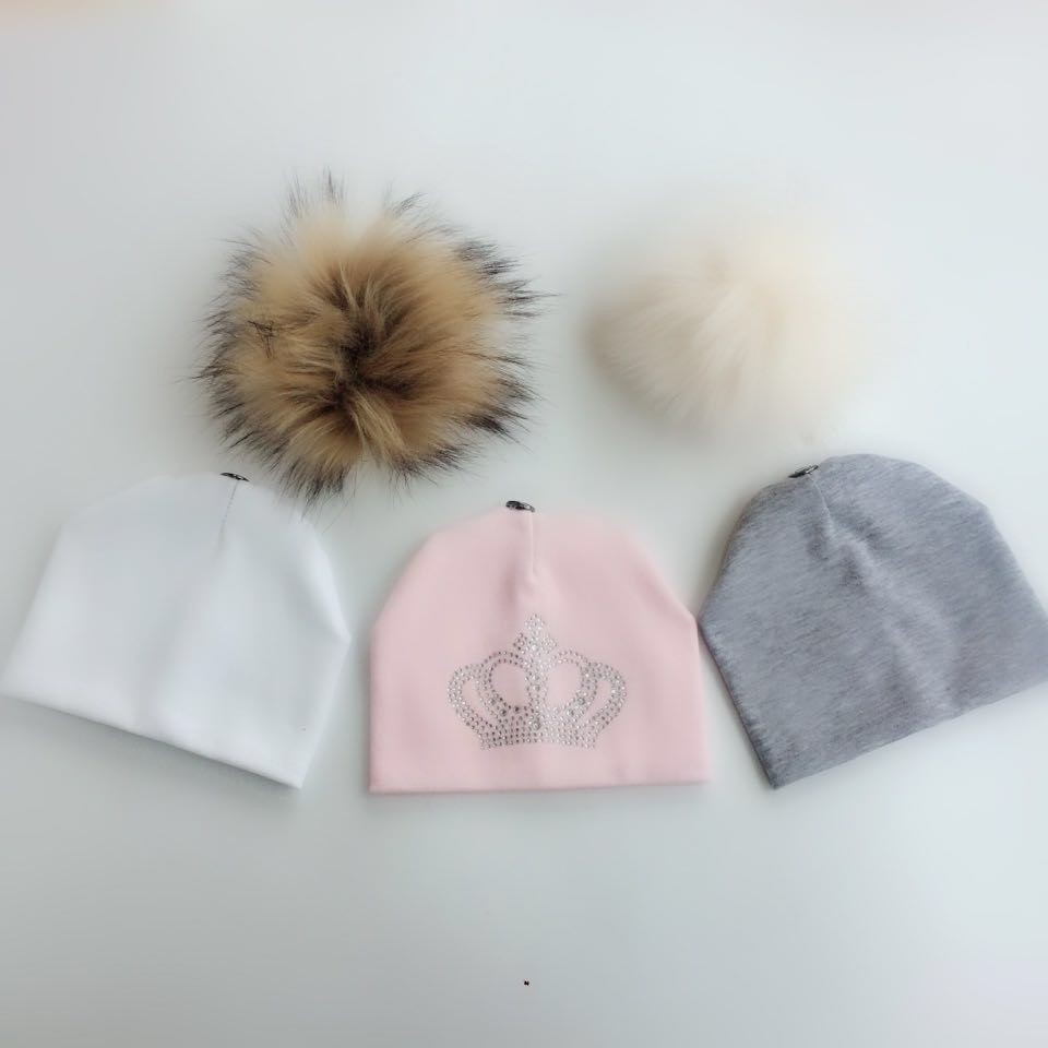 3 piece /set newborn photography props baby childrens hat with faux fur pom pom stuff for boys and girls born pretty set kids