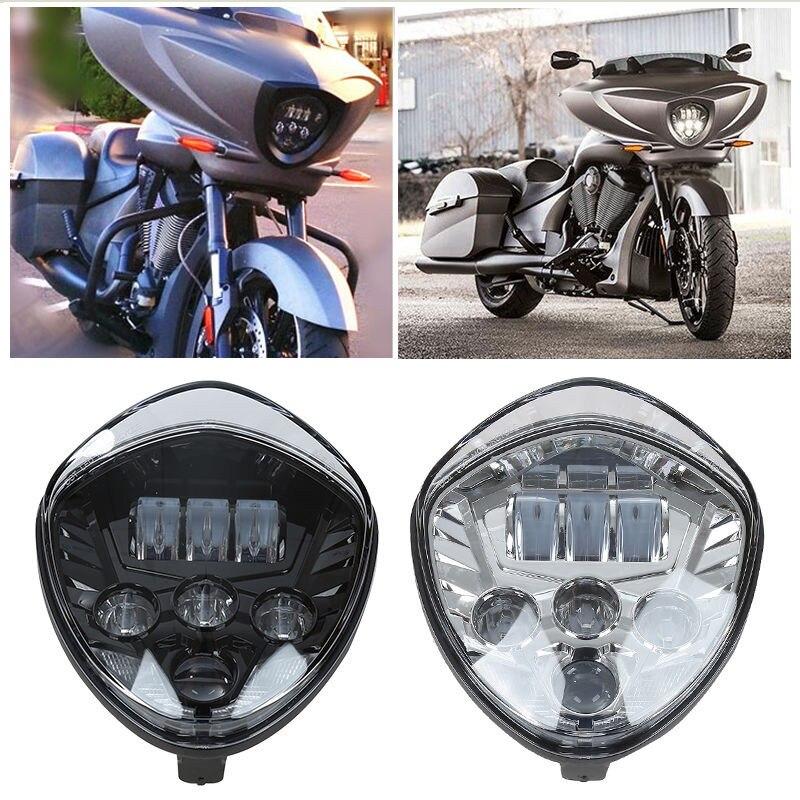 1 X Motorcycle High Power LED light Bulb Big Black Headlamp Headlight for Victory DOT and E9 цена