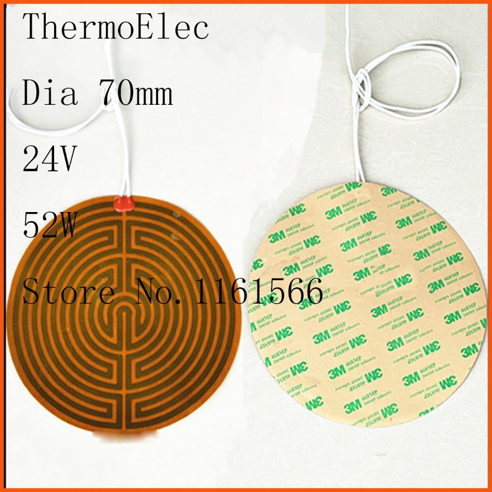 Dia 70mm 24V 52W Electrothermal film PI electric heat board 3D printer heater pad oil heater fleacible silicone heating element dia 400mm 900w 120v 3m ntc 100k round tank silicone heater huge 3d printer build plate heated bed electric heating plate element