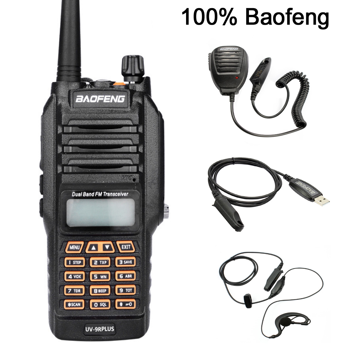 Baofeng UV-9R Plus Waterproof Walkie Talkie 5W Powerful Two Way Radio Dual Band Handheld 10km Long Range UV9R CB Portable Radio