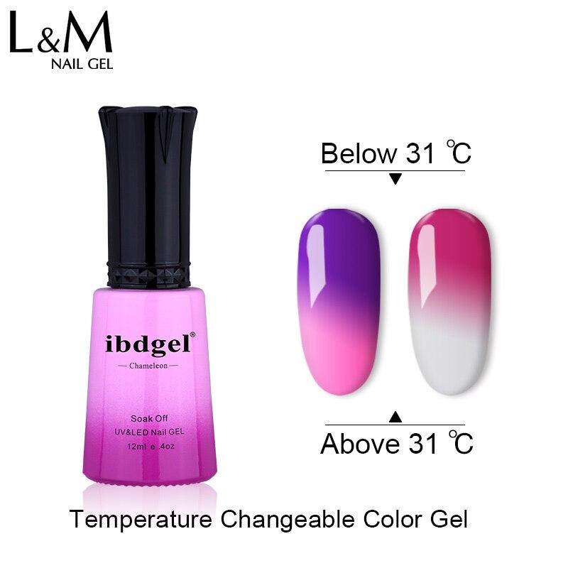 12 unids ibdgel Chameleon Cambio de temperatura Color UV LED gel Nail - Arte de uñas - foto 3