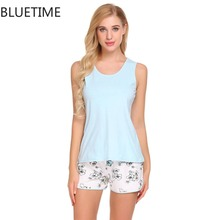 ФОТО pijama women pajamas set sleepwear pyjamas women tank top and floral print shorts summer night suits 2018 sleeveless nightwear 4