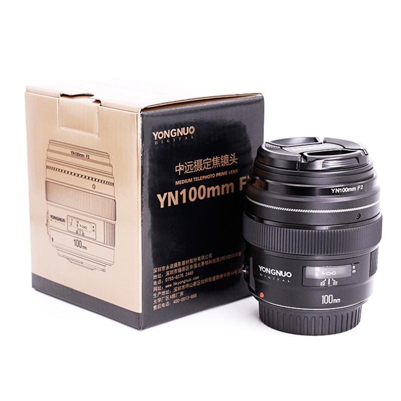 Yongnuo 100mm F2 objectif de caméra pour Canon EOS caméras YN100mm F2N pour Nikon D7200 D7100 moyen téléobjectif Prime AF objectifs MF - 6