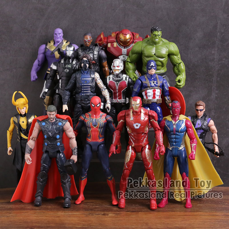 Avengers 3 Infinity Guerre PVC Chiffres Jouets 14 pcs/ensemble Thanos Iron Man Captain America Vision Thor Loki Hulkbuster Spiderman