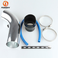 POSSBAY 6Pcs 3'' 75mm Car Cold Air Intake System Turbo Induction Pipe Tube + Cone Air Filter Black Silicone Vacuum Hose