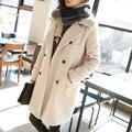 Новый Женский темперамент Осенью и зимой одежда шерстяные свободные Девушки длинные шерстяные пальто Корейской версии для девочки