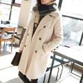 Nuevo de Las Mujeres de temperamento Otoño y ropa de invierno Niñas abrigo largo de lana de lana floja versión Coreana para la muchacha