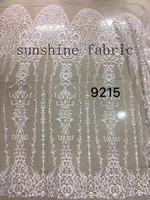 Latest African Laces Off white High Quality Tulle Fabric Laces Nigerian Lace French Lace Fabric For Women Dress