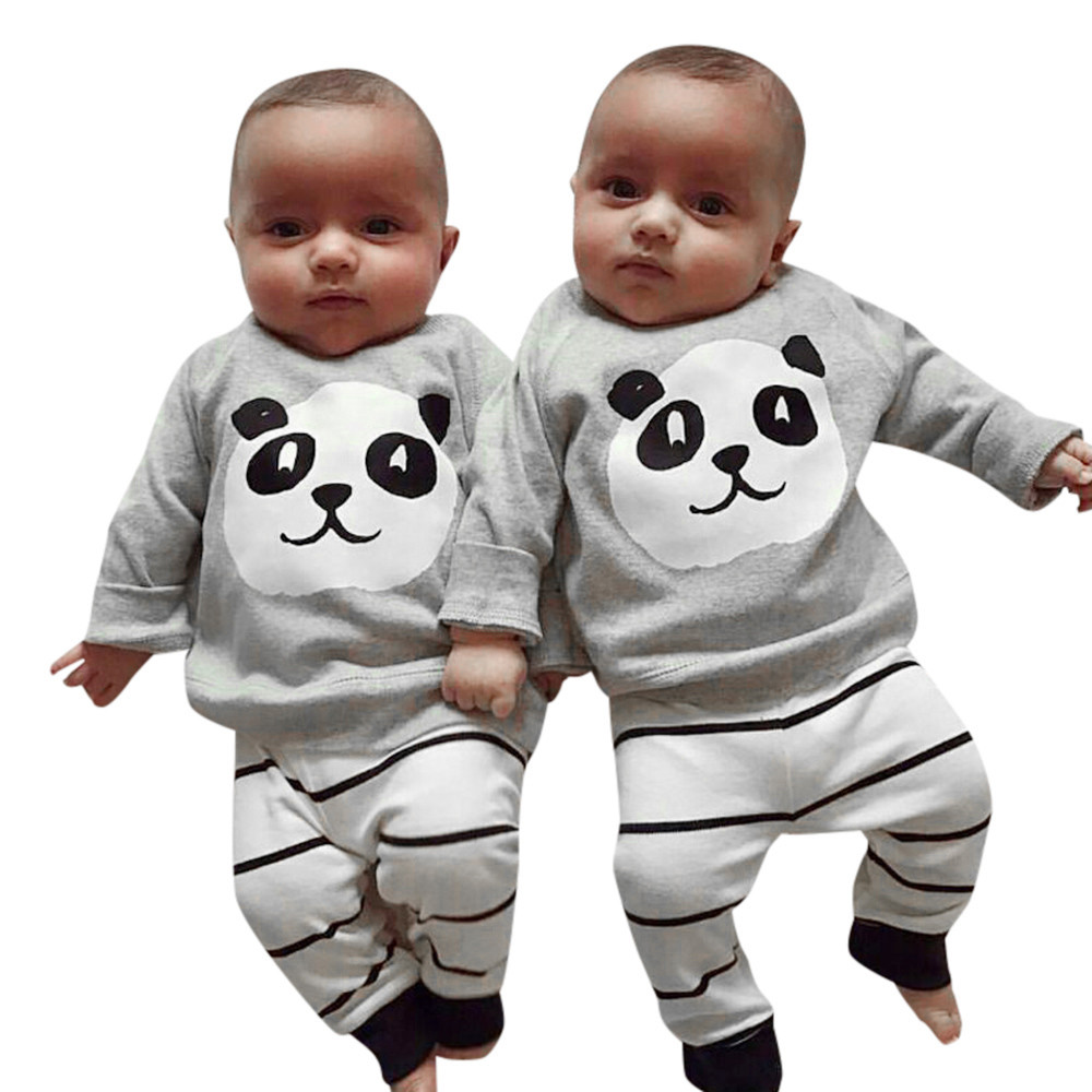 Hot sale Cute Warm 2PCS Newborn Baby Girls Boys Panda Long sleeve Tops Shirt Stripe Pants Outfits Set baby clothing bebek giyim