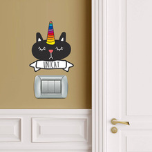 Cartoon Cute Black Cat Color Wall Switch Sticker For Kids Rooms Decoration Waterproof Laptop Decal Bumper Car Art