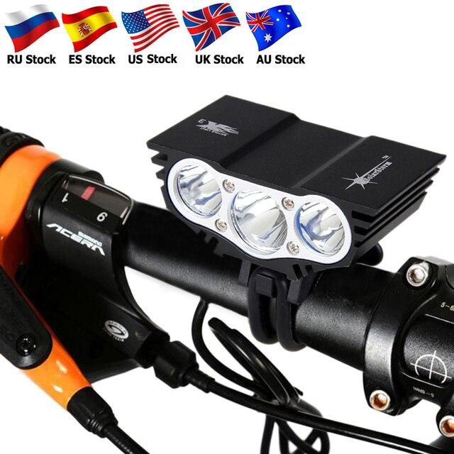 עמיד למים אופני אור 3xT6 LED קדמי אופניים פנס 4 מצבי בטיחות לילה רכיבה על אופניים מנורה + סוללה נטענת + מטען