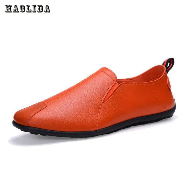 HAOLIDA 2017 Hot Sale Fashion Summer Loafers Men Shoes Casual Leather Comfortable Driving Shoes Soft Male Moccasins Breathable