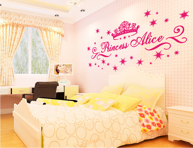 Free Shipping Pink Princess Crown Wall Stickers for Baby Room ...