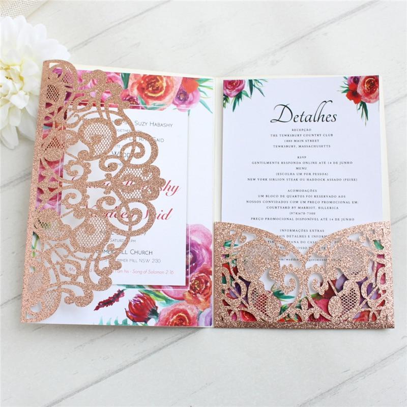 Rose gold glitter card invitation for wedding with envelop RSVP tri fold pocket laser cut gift