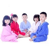 2017 Kids Bathrobe 100 Cotton Bath Robe Unisex Solid Dressing Gown Spa Bathrobe Pajamas Thick Long