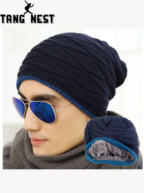 31d660e9630 2019 Men s Winter New Style Casual Warm Sweater Hat Plus Velvet Hot Selling  Adult Solid Great Design Male Hat PMM213