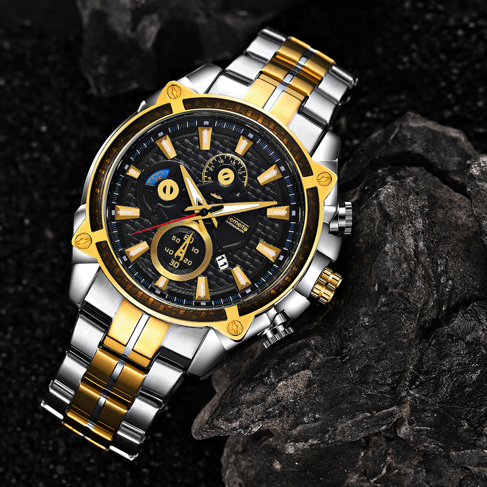 Top Brand Luxury Golden Watches Men Stainless Steel Strap Fashion TEMEITE Waterproof Quartz Wristwatch Calendar Oversize Clock 19