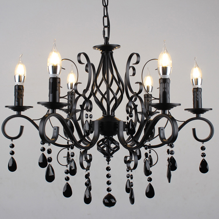 Vintage dinning room Chandeliers Luxury Black Industrial Wrought Iron E14 Candle lights Wrought Iron candle Lamp black wrought iron loft lamp industrial pendant with candle holder rustic vintage light fixtures for room restaurant decoration