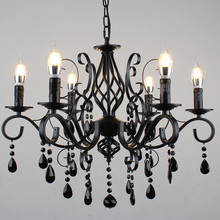 Vintage dinning room Chandeliers Luxury Black Industrial Wrought Iron E14 Candle lights candle Lamp