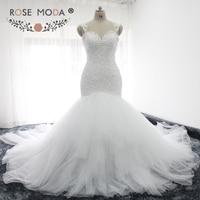 Rose Moda Sexy Backless Lace Mermaid Wedding Dress Cap Sleeves Sweetheart Neck Bridal Dress with 1 meter Royal Train Custom Made