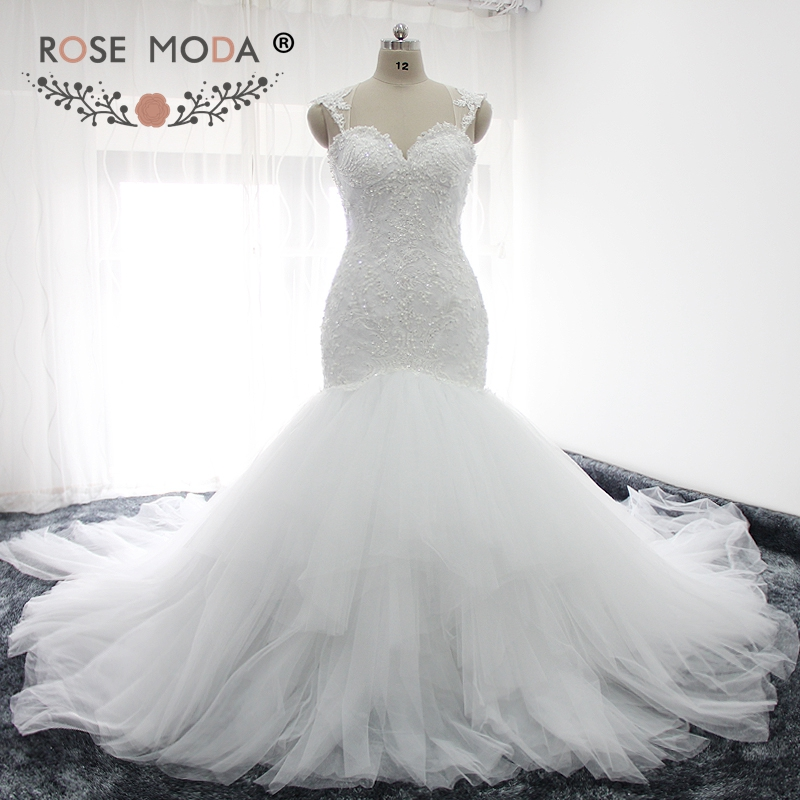 Rose Moda Sexy Backless Lace Wedding Dress 2019 Mermaid Wedding Dresses With Royal Train Real Photos