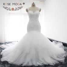 Rose Moda Sexy Backless Lace Mermaid Wedding Dress Cap Sleeves Sweetheart  Neck Bridal Dress with 1 meter Royal Train Custom Made 880455cc35c5