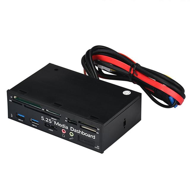 Gota shippingsimplestone 5.25 usb3.0 de alta velocidade leitor de cartão de mídia do painel frontal do painel pc multi sata dec16 mosunx
