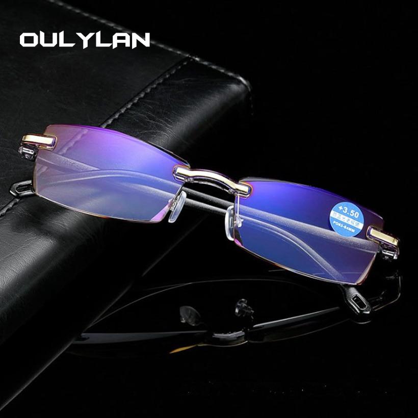 Oulylan Reading-Glasses Light Computer Rimless Anti-Blue Presbyopia Women Eyewear Clear