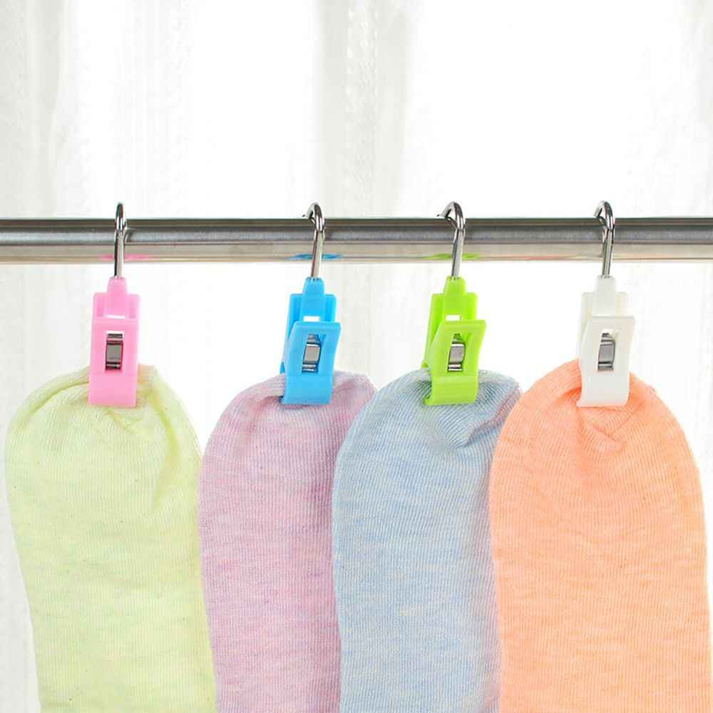 4 pcs 2 In 1 White/Blue/Pink/Green ABS Plastic Clip Steel Hook Laundry Storage Organization Clothes Pegs Hanging Clip