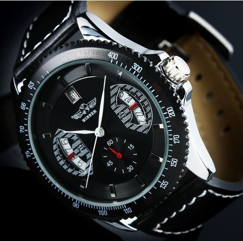 Men Auto Mechanical Watch Leather Strap Sub Dial Date Display Tachometer   Wrist Watch