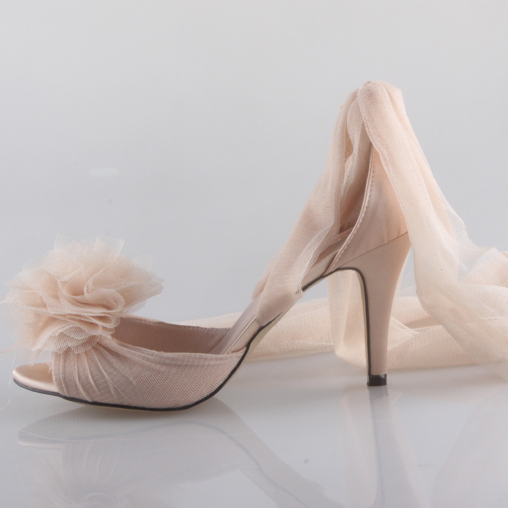 Creativesugar Handmade Champagne nude skin color long tulle bridal shoes  soft gauze leg strap fairy tale wedding party lady pump-in Women s Pumps  from Shoes ... a4e7ce34144f