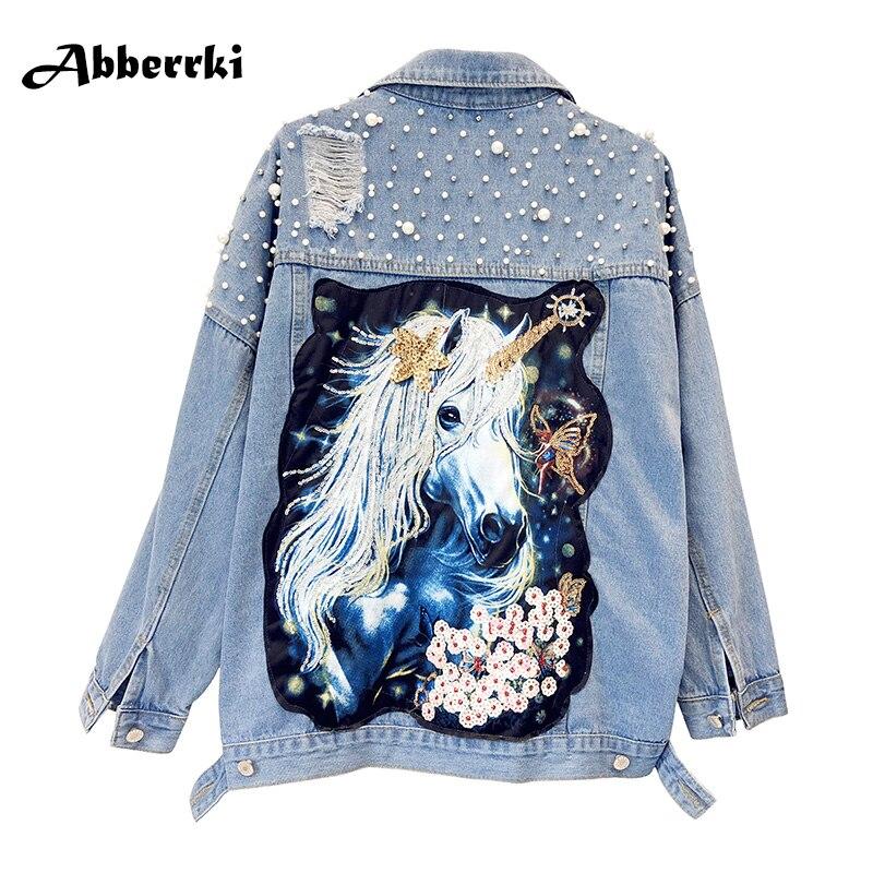Imprimer Perle Bleu Manteau Trous Perles Manches Longues Jeans De Mujer Paillettes 2018 Dessinée Veste Denim Bande Chaqueta Femmes Streetwear Printemps vHwgq4d