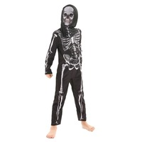 Kids Scary Black Grim Reaper Cosplay Costume with Black Gold Mask Halloween White Skeleton Clothes for Halloween
